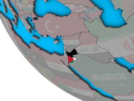 Jordan with embedded national flag on simple 3D globe. 3D illustration. Stockfoto
