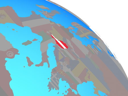 Austria with national flag on simple blue political globe. 3D illustration. Standard-Bild - 112907259