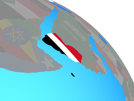 Yemen with national flag on simple blue political globe. 3D illustration.