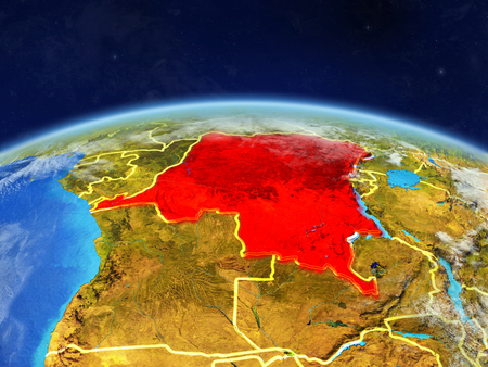 Dem Rep of Congo on planet Earth with country borders and highly detailed planet surface and clouds. 3D illustration.