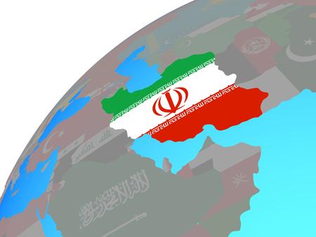 Iran with embedded national flag on globe. 3D illustration. Stockfoto