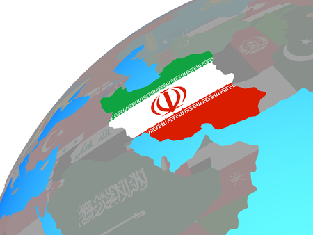 Iran with embedded national flag on globe. 3D illustration. Stock Photo