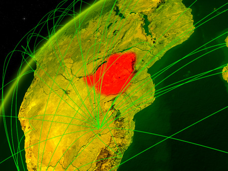 Zimbabwe on model of green planet Earth with international networks. Concept of digital communication and technology. 3D illustration.