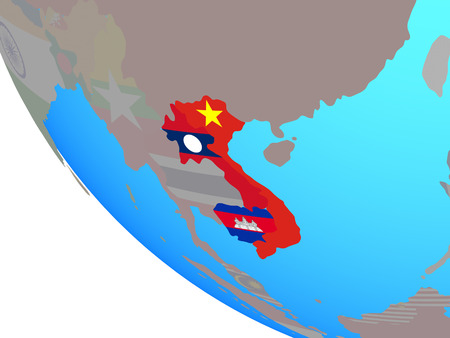 Indochina with national flags on simple globe. 3D illustration.
