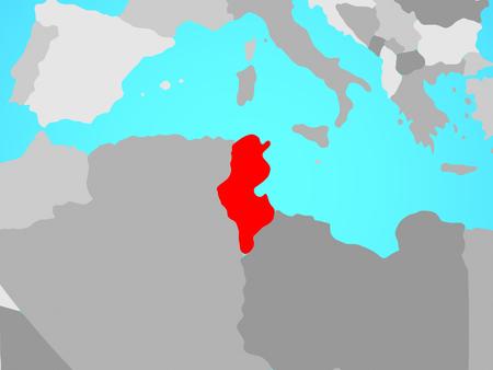 Tunisia on blue political globe. 3D illustration.