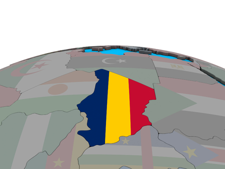 Chad with embedded national flag on political 3D globe. 3D illustration.