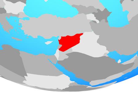 Syria on simple political globe. 3D illustration.