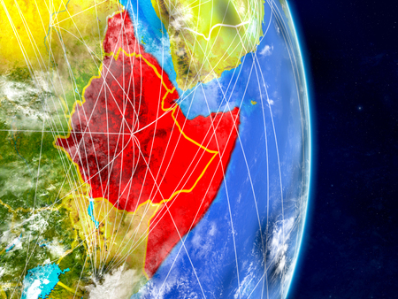 Horn of Africa on planet Earth with networks. Extremely detailed planet surface and clouds. 3D illustration.