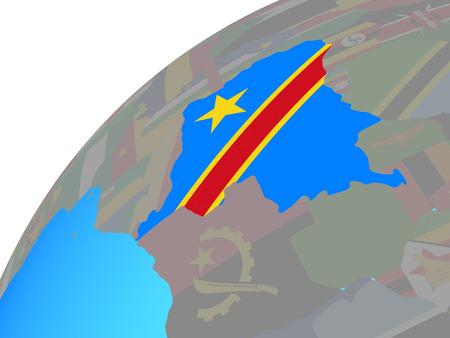 Dem Rep of Congo with embedded national flag on globe. 3D illustration. Banco de Imagens