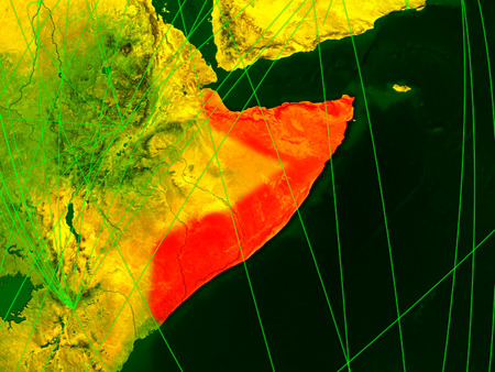 Somalia on digital map with networks. Concept of international travel, communication and technology. 3D illustration.
