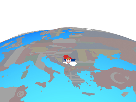 Serbia with national flag on political globe. 3D illustration. Imagens