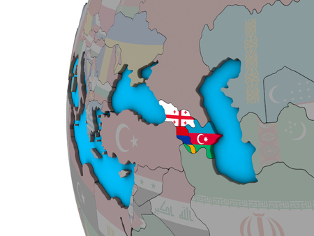 Caucasus region with national flags on blue political 3D globe. 3D illustration. Reklamní fotografie