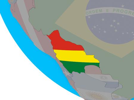 Bolivia with embedded national flag on simple 3D globe. 3D illustration. Reklamní fotografie