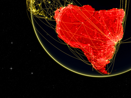 South America on dark Earth with network. Concept of connectivity, internet or telecommunications. May also represent air traffic. 3D illustration.