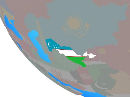 Uzbekistan with national flag on simple globe. 3D illustration. Stock Photo
