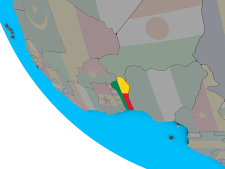 Benin with embedded national flag on simple 3D globe. 3D illustration.