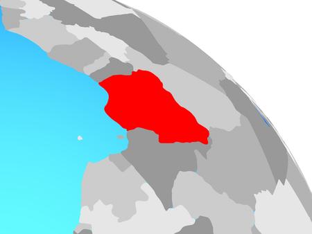 Nigeria on simple blue political globe. 3D illustration. Stock Photo