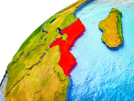 Mozambique on 3D Earth model with visible country borders. 3D illustration. Standard-Bild - 112908080
