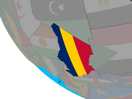 Chad with embedded national flag on simple 3D globe. 3D illustration. Фото со стока