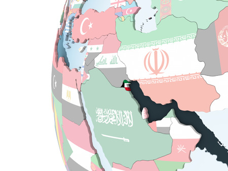 Kuwait on bright political globe with embedded flag. 3D illustration. Stock Photo