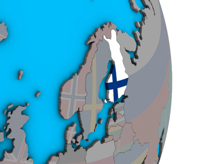 Finland with embedded national flag on simple political 3D globe. 3D illustration.