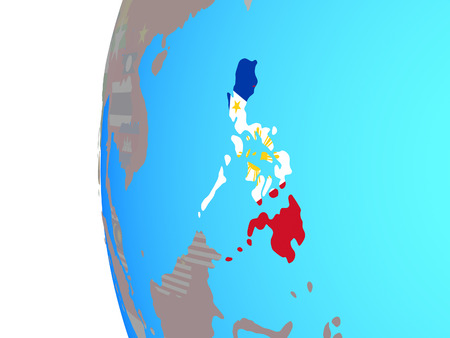 Philippines with embedded national flag on blue political globe. 3D illustration.