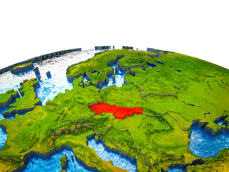 Former Czechoslovakia on 3D Earth with visible countries and blue oceans with waves. 3D illustration.