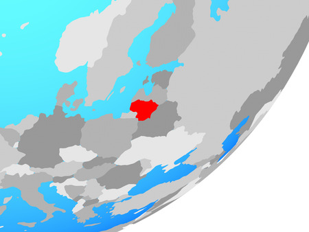 Lithuania on blue political globe. 3D illustration.