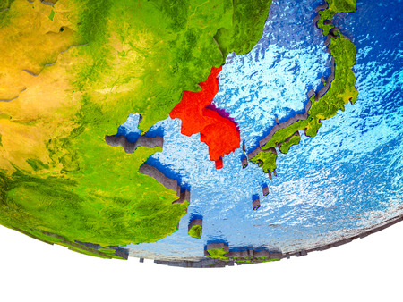 Korea on 3D Earth with divided countries and watery oceans. 3D illustration. 스톡 콘텐츠