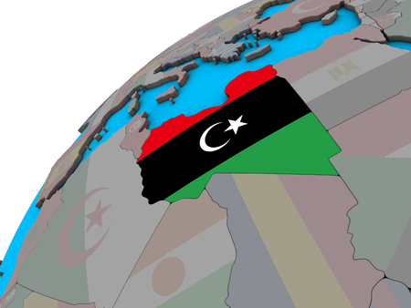 Libya with national flag on 3D globe. 3D illustration. Stock Photo