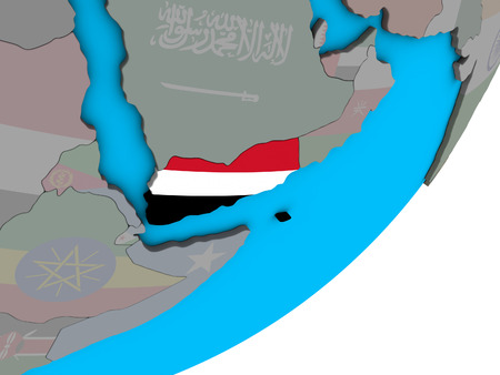 Yemen with national flag on blue political 3D globe. 3D illustration.