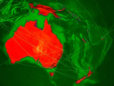 Australia on green Earth in space with networks representing air traffic or telecommunications. 3D illustration.