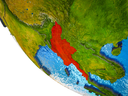 Myanmar on model of Earth with country borders and blue oceans with waves. 3D illustration.