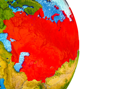 Former Soviet Union on 3D model of Earth with divided countries and blue oceans. 3D illustration. Stock Photo
