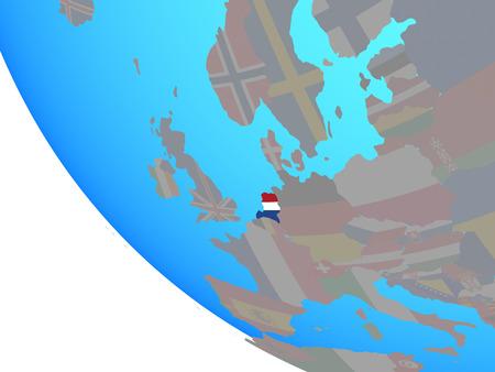 Netherlands with national flag on simple globe. 3D illustration.