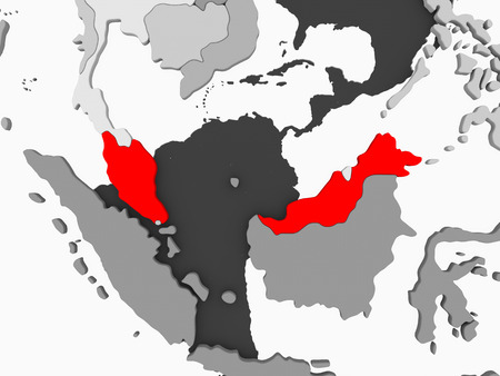 Malaysia in red on grey political map with transparent oceans. 3D illustration.