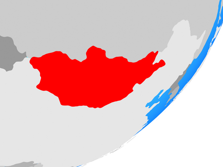 Mongolia on blue political globe. 3D illustration. Stock Photo
