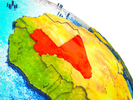 Mali Highlighted on 3D Earth model with water and visible country borders. 3D illustration.