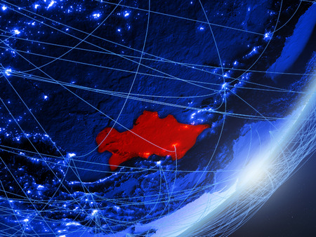 Turkmenistan on green model of planet Earth with network at night. Concept of blue digital technology, communication and travel. 3D illustration. Stock Photo