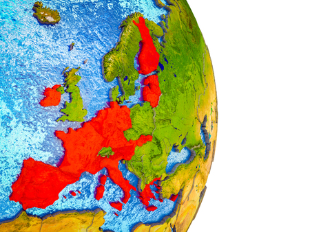 Eurozone member states on 3D model of Earth with divided countries and blue oceans. 3D illustration.