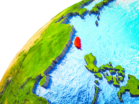 Taiwan on 3D Earth model with visible country borders. 3D illustration.