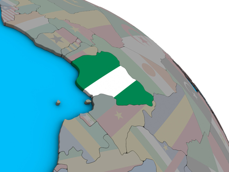 Nigeria with embedded national flag on simple blue political 3D globe. 3D illustration.