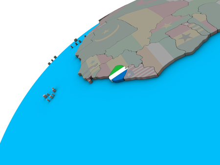 Sierra Leone with national flag on 3D globe. 3D illustration. Stock Photo