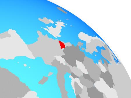 Belgium on simple blue political globe. 3D illustration.