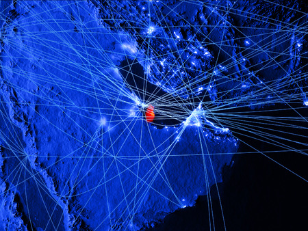 Qatar on blue digital map with networks. Concept of international travel, communication and technology. 3D illustration. Reklamní fotografie