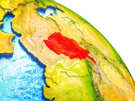 Afghanistan Highlighted on 3D Earth model with water and visible country borders. 3D illustration. Stock Photo