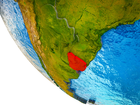 Uruguay on model of Earth with country borders and blue oceans with waves. 3D illustration. Imagens