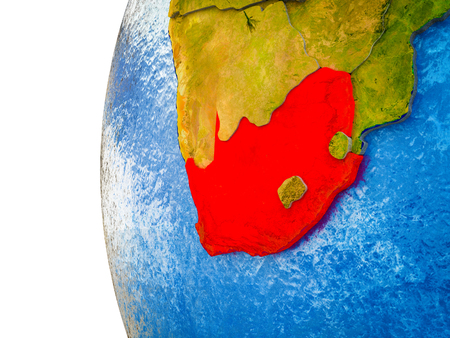 South Africa highlighted on 3D Earth with visible countries and watery oceans. 3D illustration.