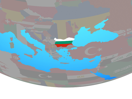 Bulgaria with national flag on simple political globe. 3D illustration.