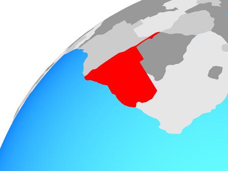 Namibia on globe. 3D illustration.